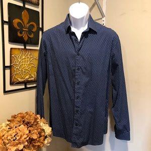 EXPRESS navy blue button down fitted shirt SZ M